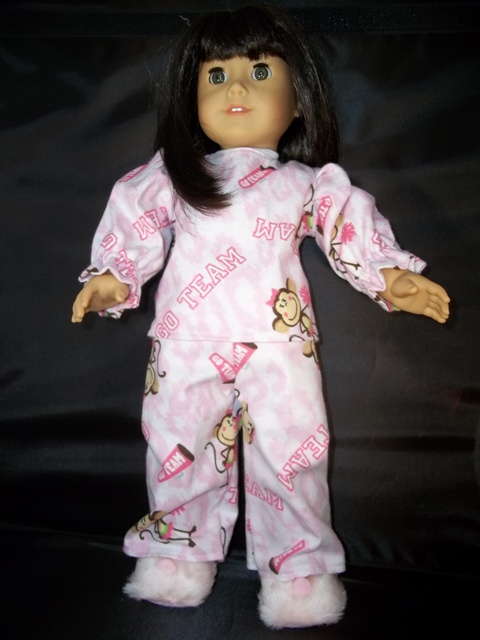American Girl Winter Pajamas-monkey cheer print